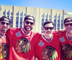 (From L to R) AHL grads Nick Leddy, Brandon Bollig, Andrew Shaw, and Bryan Bickell pose together during the Chicago Blackhawks Stanley Cup Parade. via @Bollig87